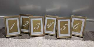 Table numbers on gold frames
