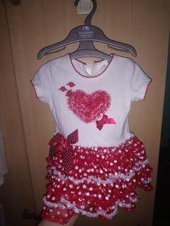 Polka TUTU Baby Birthday Dress 12 months Thick White Shirt