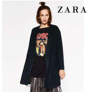Zara Green Mohair Pea Coat