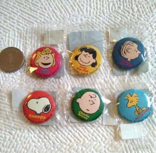 Peanuts Snoopy Small Badges A Set of 6 小襟章六個