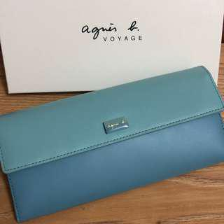全新 agnes b. 藍色 綠色 立體logo 牛皮 真皮 掀蓋 翻蓋 扣式 皮夾 長夾 女用 薄型 保證真品 正品