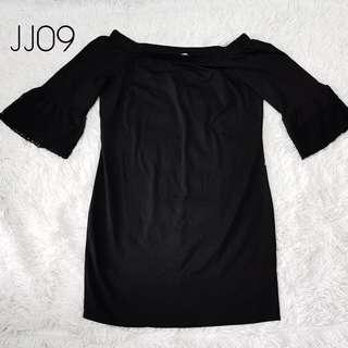 Plus Size Off-Shoulder Black Dress