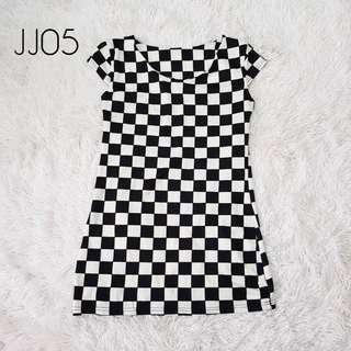 Plus Size Black & White Checkered Dress