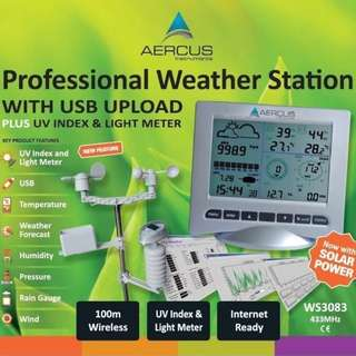 308 (Brand New) Weather Station Wireless WS3083 with Internet Upload plus UV Index and Light Meter + Free Beginner's Guide