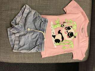 T shirt and shorts for girls