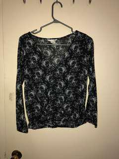 Black and White Floral H&M Long Sleeve Shirt
