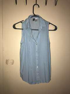 Blue Striped Sleeveless H&M Shirt