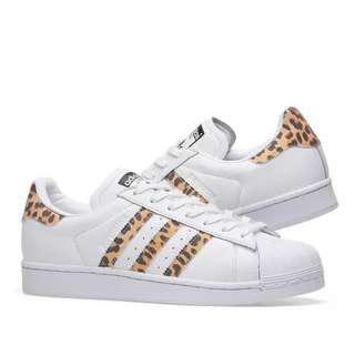 adidas Originals Superstar Sneakers With Leopard Print Trim AU 7