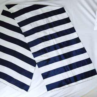 Navy blue striped chiffon scarf