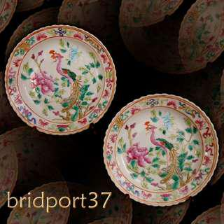 19thC Straits Chinese Nonya Peranakan Famille Rose Plates (2) d 5.75 inches 粉彩瓷 CT023