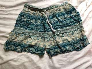 Blue and White Elephant Shorts