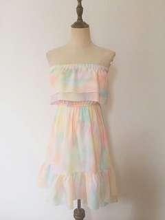 Pastel tie dye ruffled tube dress