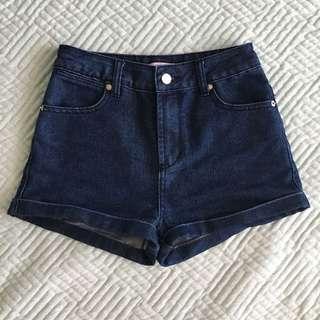 Supre size 8 cuffed dark blue high waisted shorts