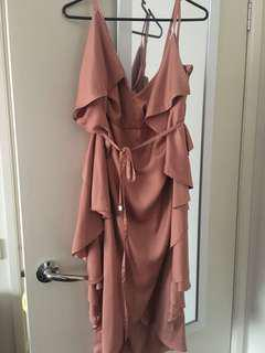 PREMONITION the label midi rose gold dress