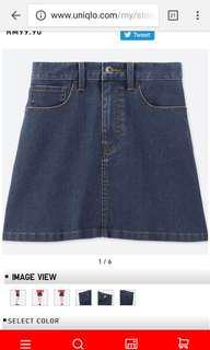 Uniqlo High Waist Denim Mini Skirt 58cm / Size S (RRP Rm99.90)