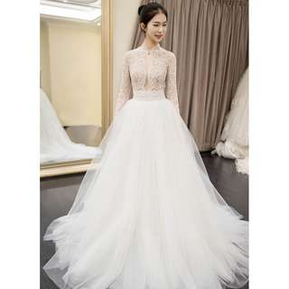 Wedding Collection - Noble Fairy Long Lace Tiny Peals Sleeves Slightly Sexy Ponytail Wedding Gown