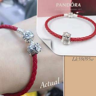 591957f18 Authentic Pandora Red Braided Leather Charm Bracelet String Bracelet with  Pandulaso Chinese Lucky Money Bag Beads