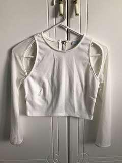 TOBI White Long Sleeve Mesh Crop Top