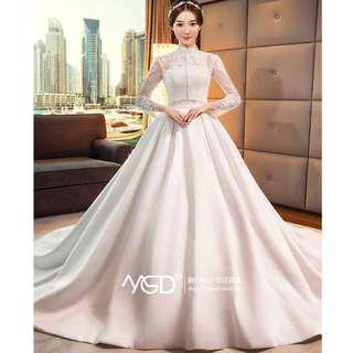 Wedding Collection - Classical High Collar Long Lace Sleeves Long Satin Tail Wedding Gown