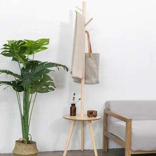 實木兩用掛衣架木桌 多用途小茶几 包送貨