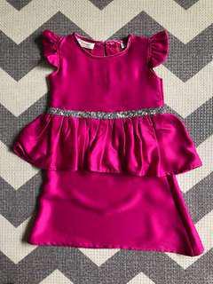 🚚 Pink peplum waist 1-piece Hari Raya dress for 18-24mths girl