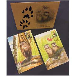 Singapore 2012 Otters (Endangered Animal) 2 Special Cards CTO
