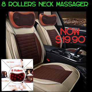 Neck Massager 8 Rollers For Car Home Office Use