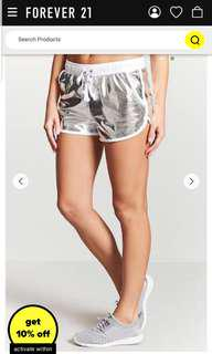 F21 Metallic Satin Running Shorts