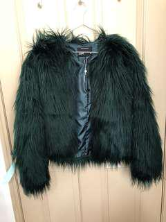 Supre forest green fur jacket