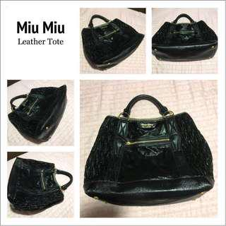 Authentic Miu Miu Large Leather Tote Bag in Black with Goldware! Free Twilly!