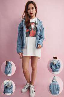 Denim Hoodie Oversized Jacket Blue