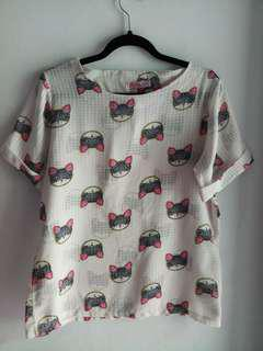 Blouse kucing cute