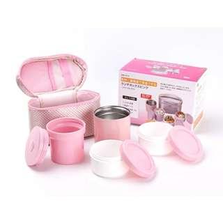 粉色可爱mini保溫袋連午餐盒四件套裝