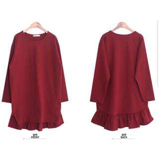 👉👉INstock korean dress oversized plus size red maroon flare long sleeves