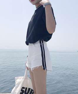 🚚 White Striped Shorts