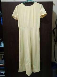 yellow midi plain dress