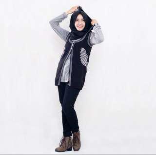 Rajut Vest Black & White