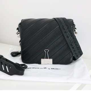 Off White black padded binder clip bag