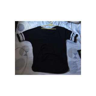 black shirt with strips