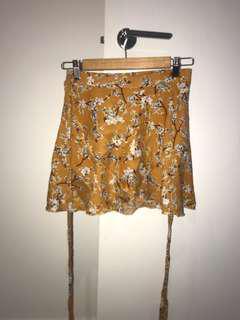Floral mustard skirt