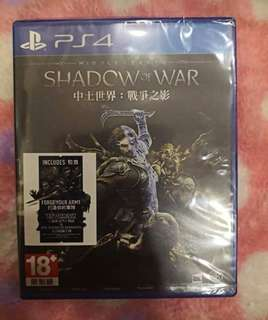 PS4 GAMES MIDDLE EARTH - SHADOW OF WAR (NEW & SEALED)