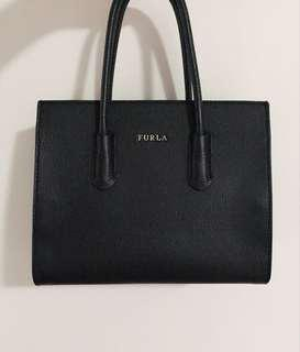 Furla Amina Black Leather Satchel Bag