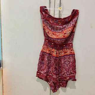 F21 off shoulder bohemian romper