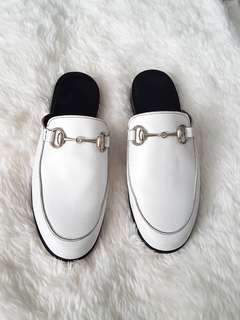 Genuine Leather Loafer Mules