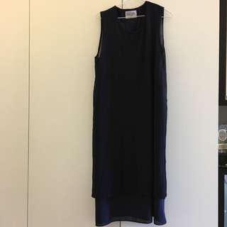 Initial style double layer dress