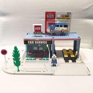 Tomica Car Service Centre 汽車維修站中心 中古二手情景場景 附Plakids人仔 #44 Toyota LAND CRUISER JAF ROAD SERVICE CAR #GOGOVAN50