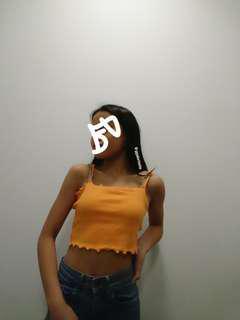 Orange Ruffled Cropped Top