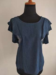Ruffled Sleeve Denim Top