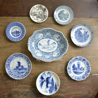 Blue and White Plates and Bowl