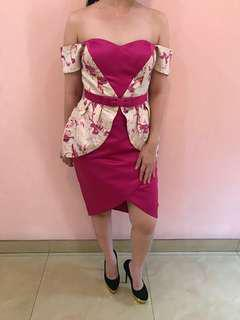 Clementine dress/ fuschia/ evening party gown size S